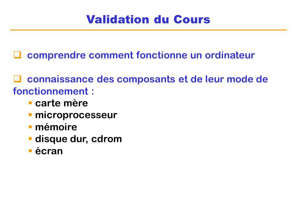 Validation du Cours comprendre comment fonctionne un ordinateur