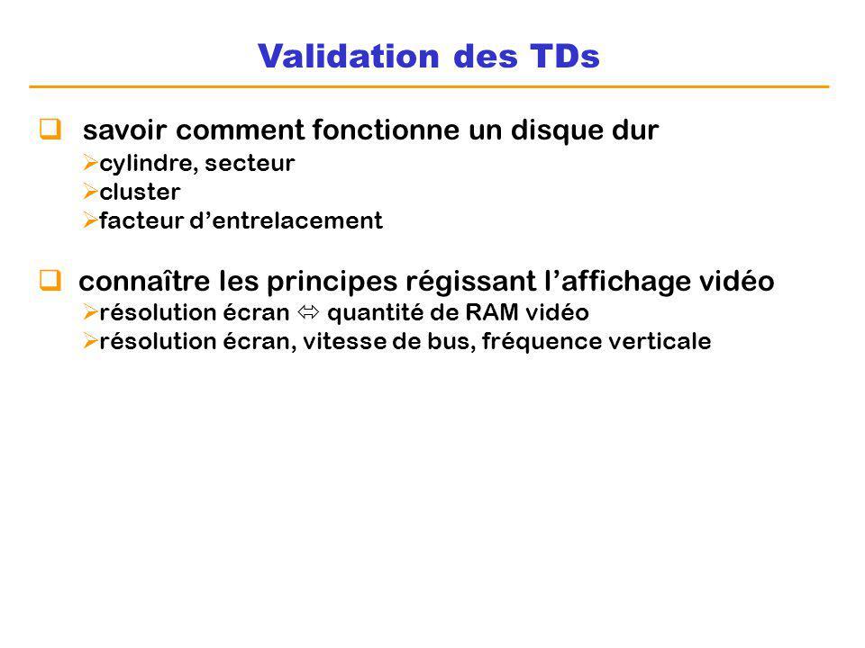 Validation des TDs savoir comment fonctionne un disque dur