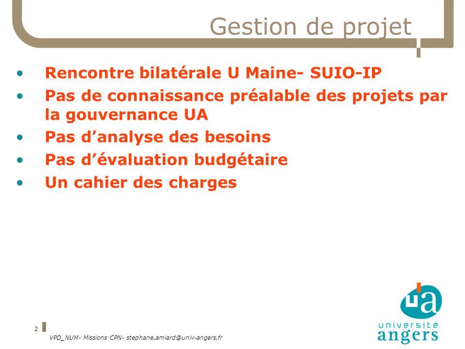 Gestion de projet Rencontre bilatérale U Maine- SUIO-IP