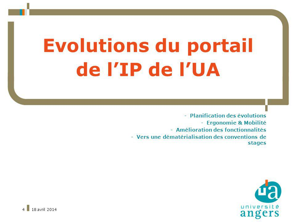 Evolutions du portail de l'IP de l'UA