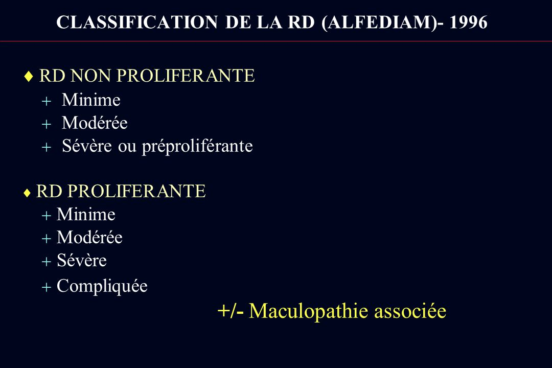 CLASSIFICATION DE LA RD (ALFEDIAM)- 1996