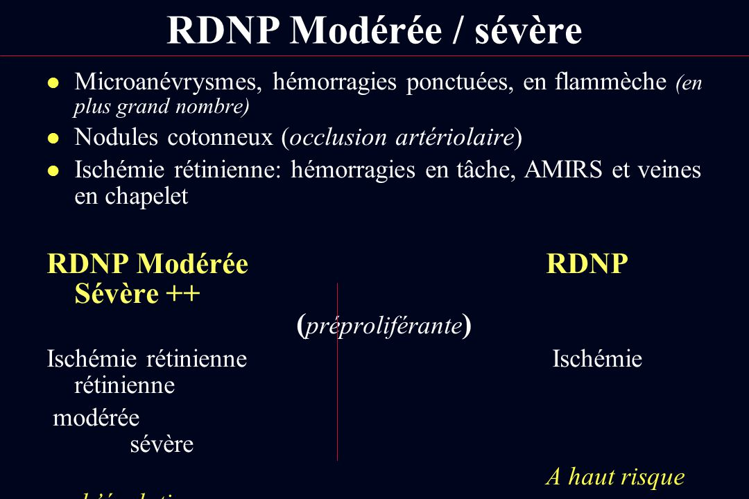 RDNP Modérée / sévère RDNP Modérée RDNP Sévère ++ (préproliférante)