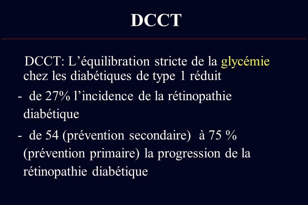 DCCT DCCT: L'équilibration stricte de la glycémie chez les diabétiques de type 1 réduit. - de 27% l'incidence de la rétinopathie diabétique.