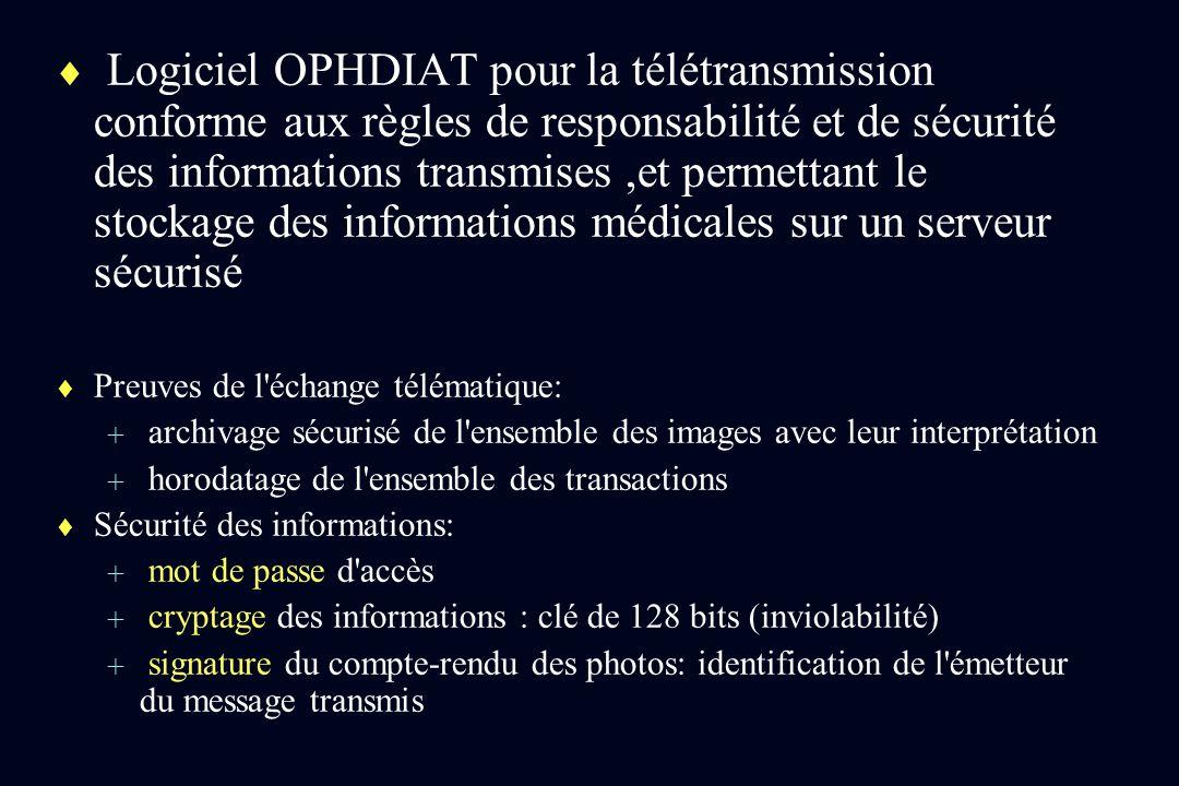 Logiciel OPHDIAT pour la télétransmission conforme aux règles de responsabilité et de sécurité des informations transmises ,et permettant le stockage des informations médicales sur un serveur sécurisé