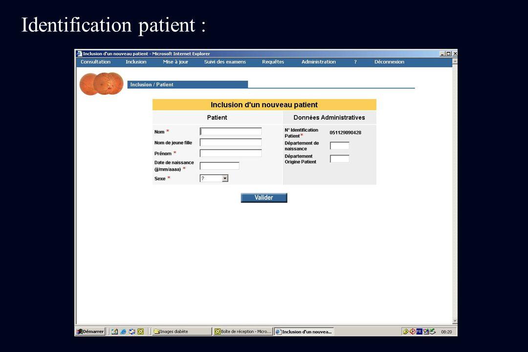 Identification patient :