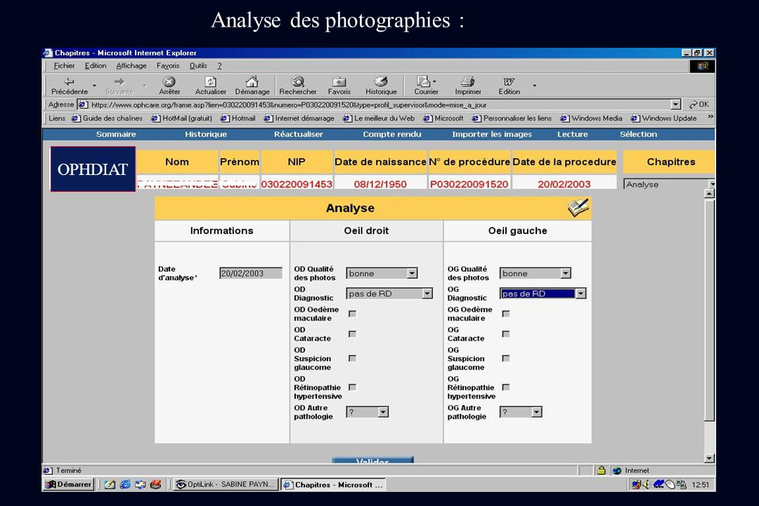 Analyse des photographies :