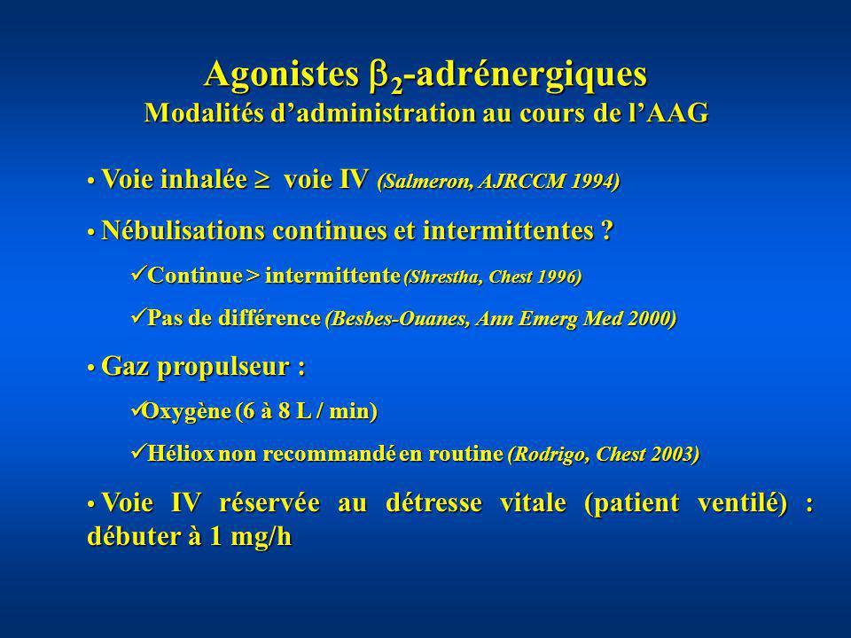 Agonistes 2-adrénergiques Modalités d'administration au cours de l'AAG