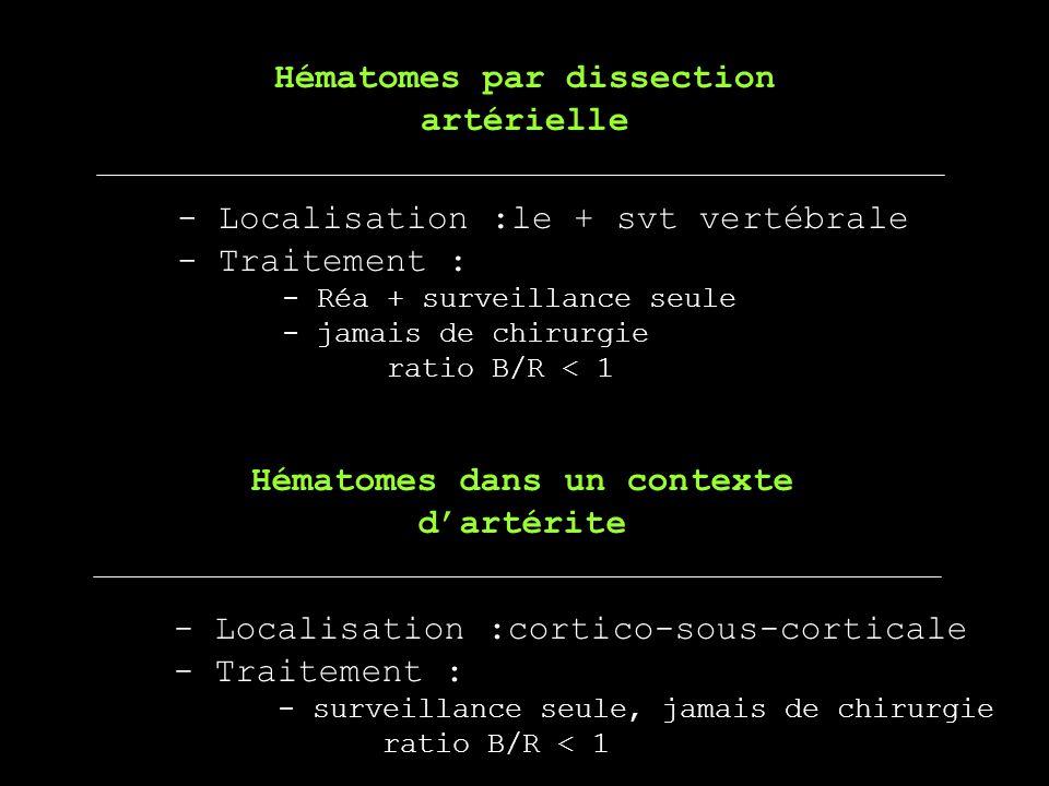 Hématomes par dissection Hématomes dans un contexte