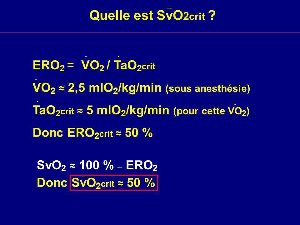 Quelle est SvO2crit ERO2 = VO2 / TaO2crit