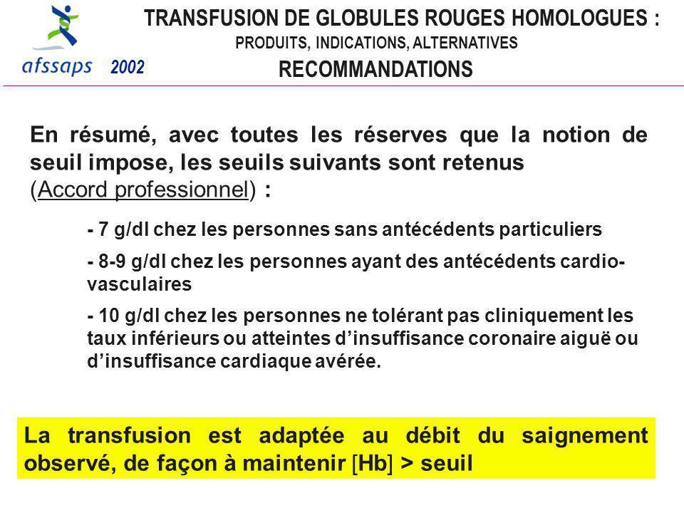 TRANSFUSION DE GLOBULES ROUGES HOMOLOGUES :