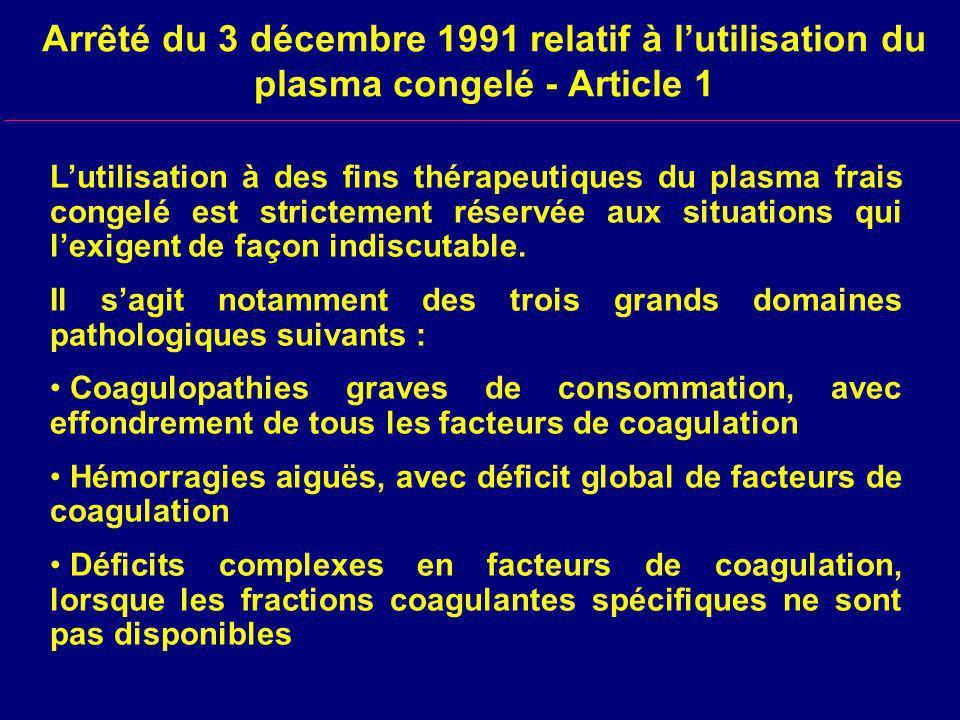 Arrêté du 3 décembre 1991 relatif à l'utilisation du plasma congelé - Article 1