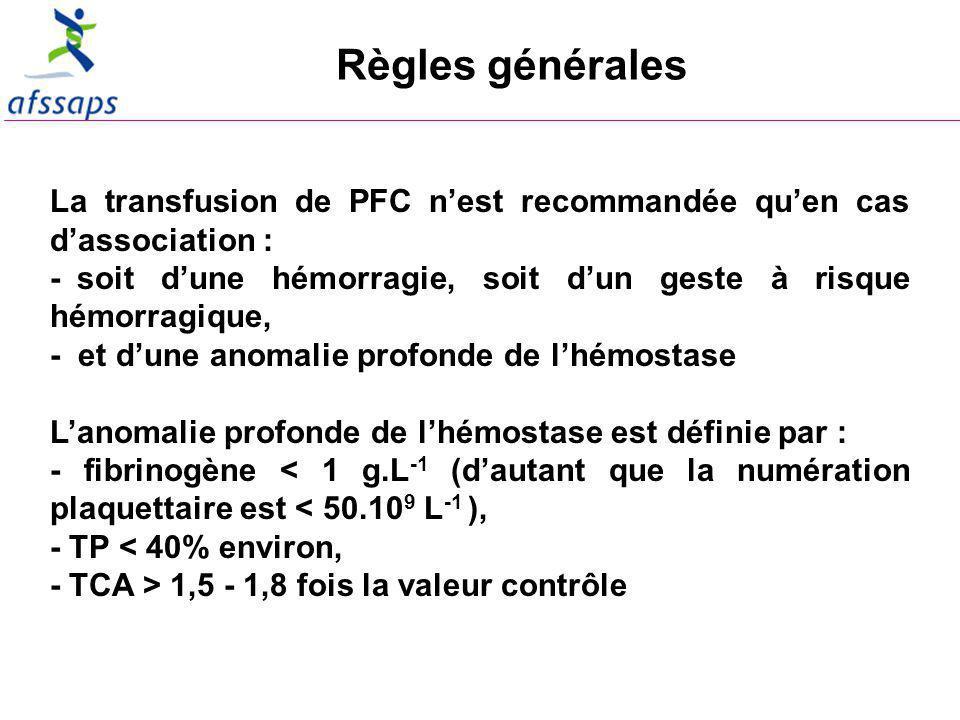 Règles générales La transfusion de PFC n'est recommandée qu'en cas d'association : - soit d'une hémorragie, soit d'un geste à risque hémorragique,