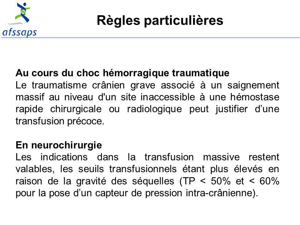 Règles particulières Au cours du choc hémorragique traumatique