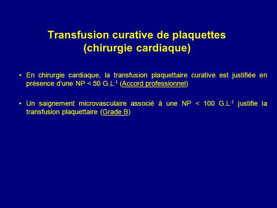 Transfusion curative de plaquettes (chirurgie cardiaque)