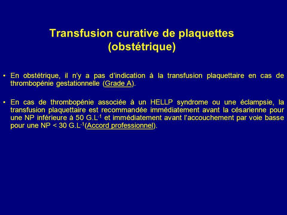 Transfusion curative de plaquettes (obstétrique)