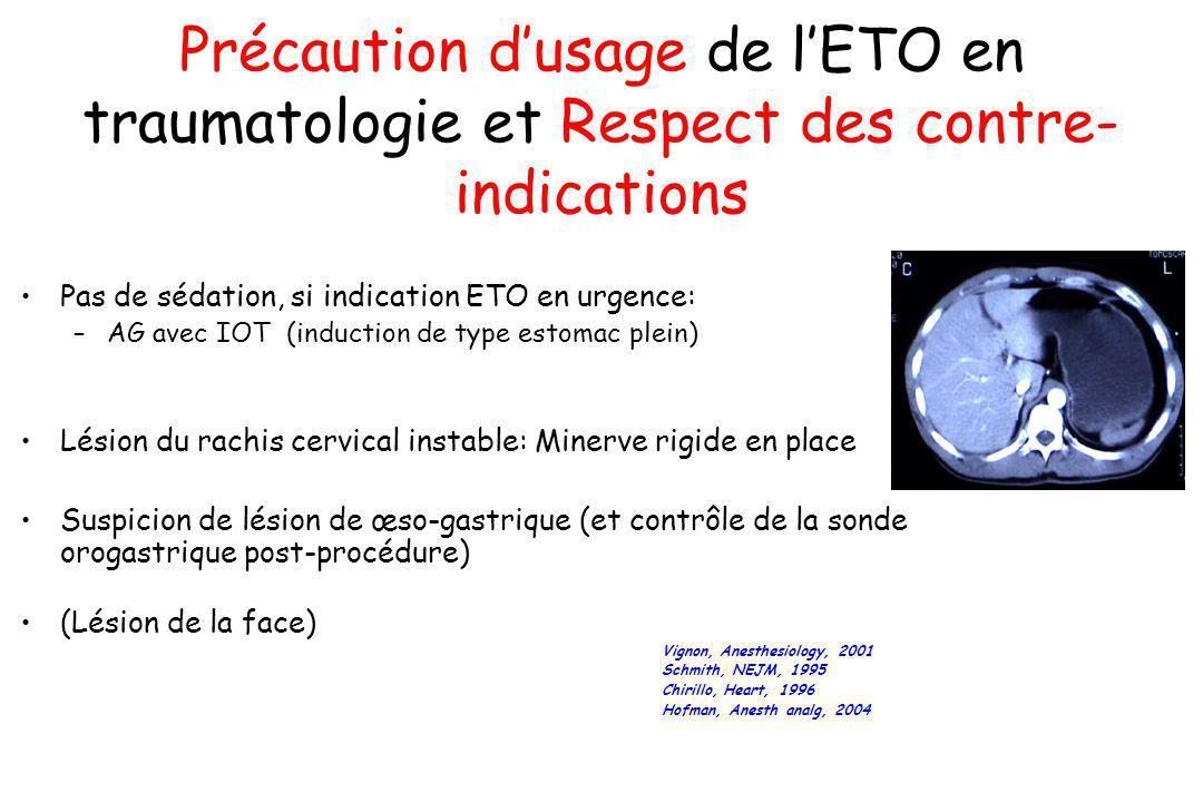 Précaution d'usage de l'ETO en traumatologie et Respect des contre-indications