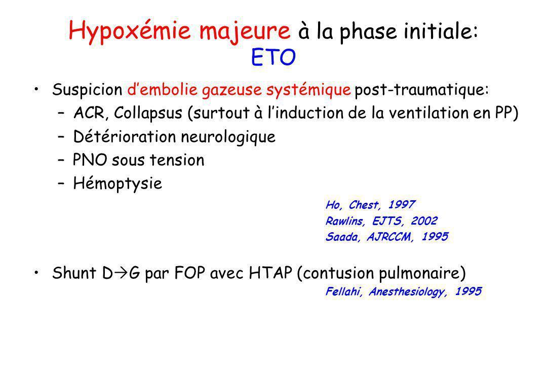 Hypoxémie majeure à la phase initiale: ETO