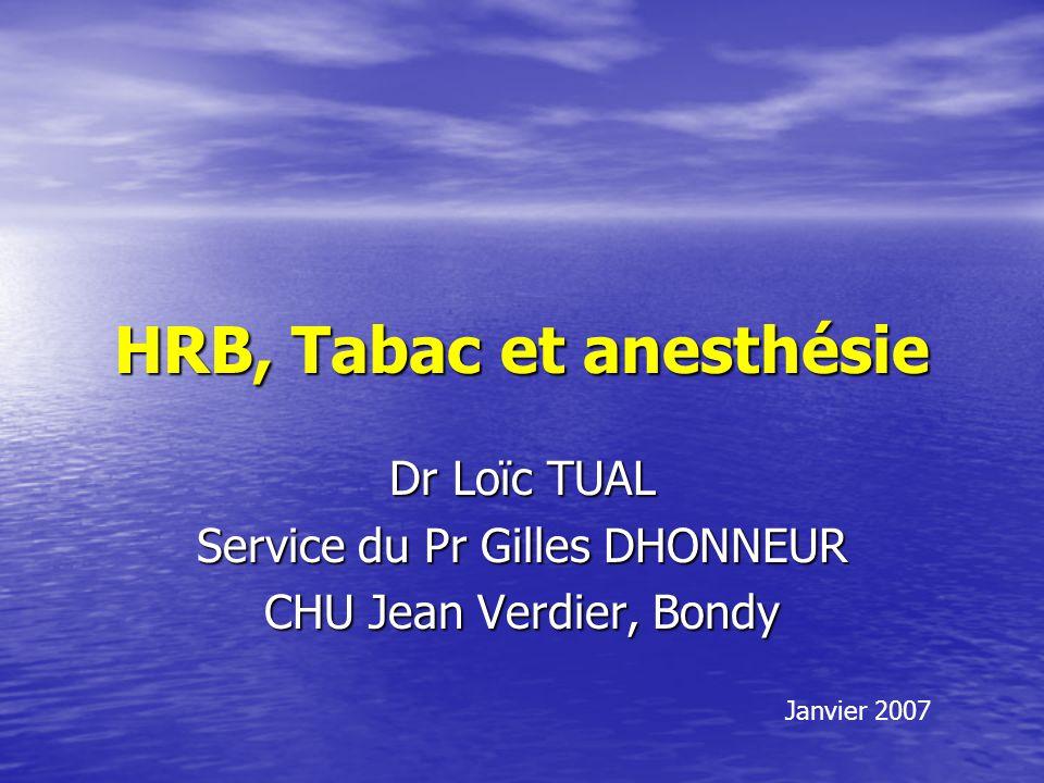 HRB, Tabac et anesthésie