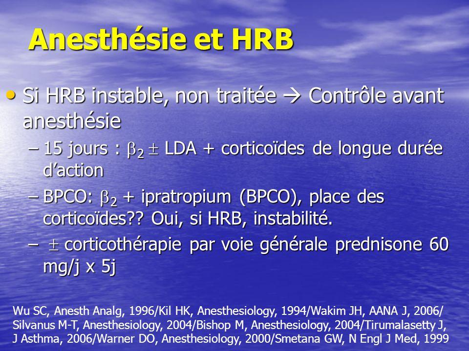 Anesthésie et HRB Si HRB instable, non traitée  Contrôle avant anesthésie. 15 jours : 2  LDA + corticoïdes de longue durée d'action.