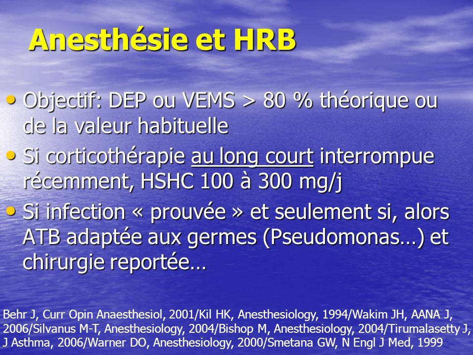 Anesthésie et HRB Objectif: DEP ou VEMS > 80 % théorique ou de la valeur habituelle.