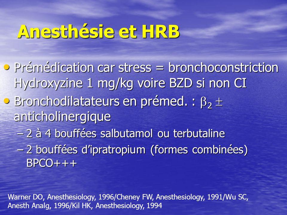 Anesthésie et HRB Prémédication car stress = bronchoconstriction Hydroxyzine 1 mg/kg voire BZD si non CI.