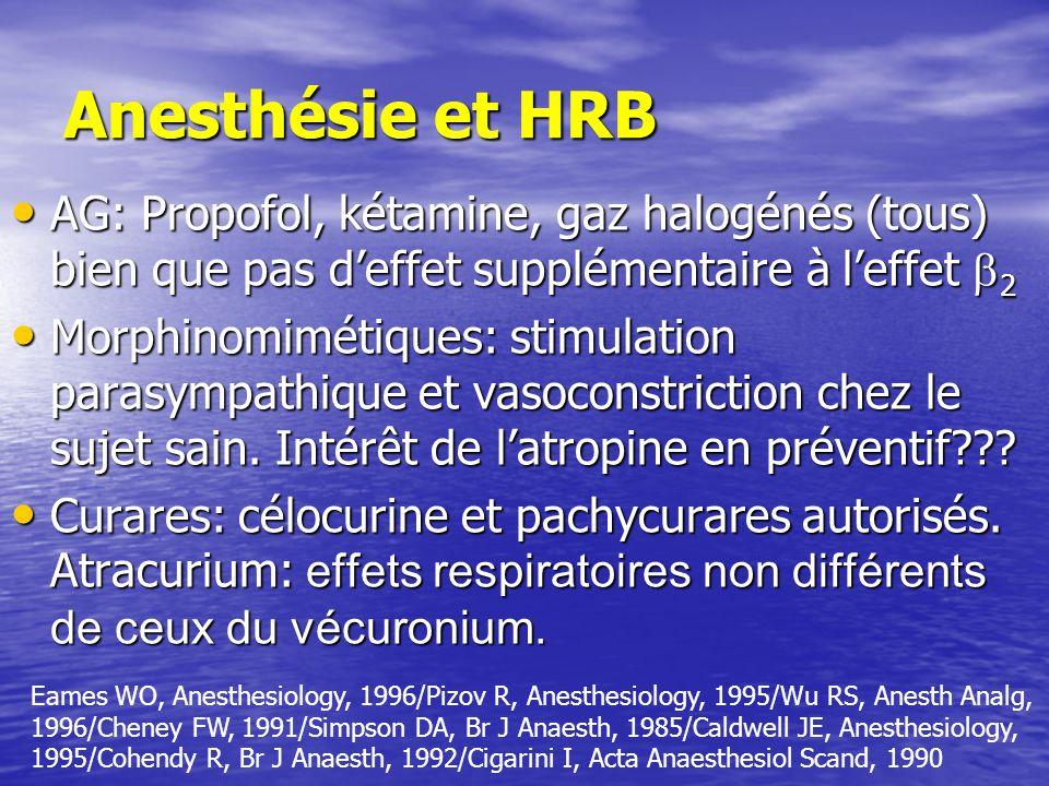 Anesthésie et HRB AG: Propofol, kétamine, gaz halogénés (tous) bien que pas d'effet supplémentaire à l'effet 2.
