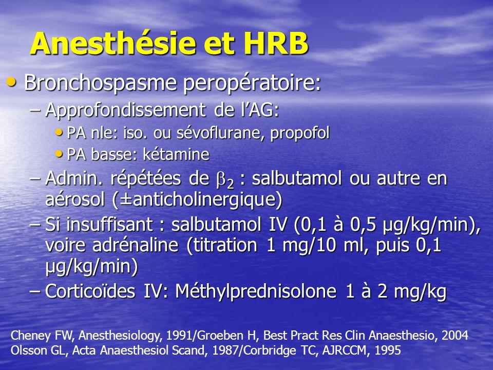 Anesthésie et HRB Bronchospasme peropératoire: