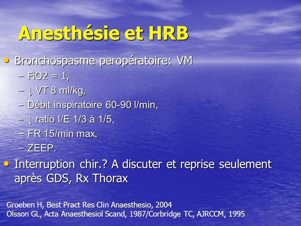 Anesthésie et HRB Bronchospasme peropératoire: VM