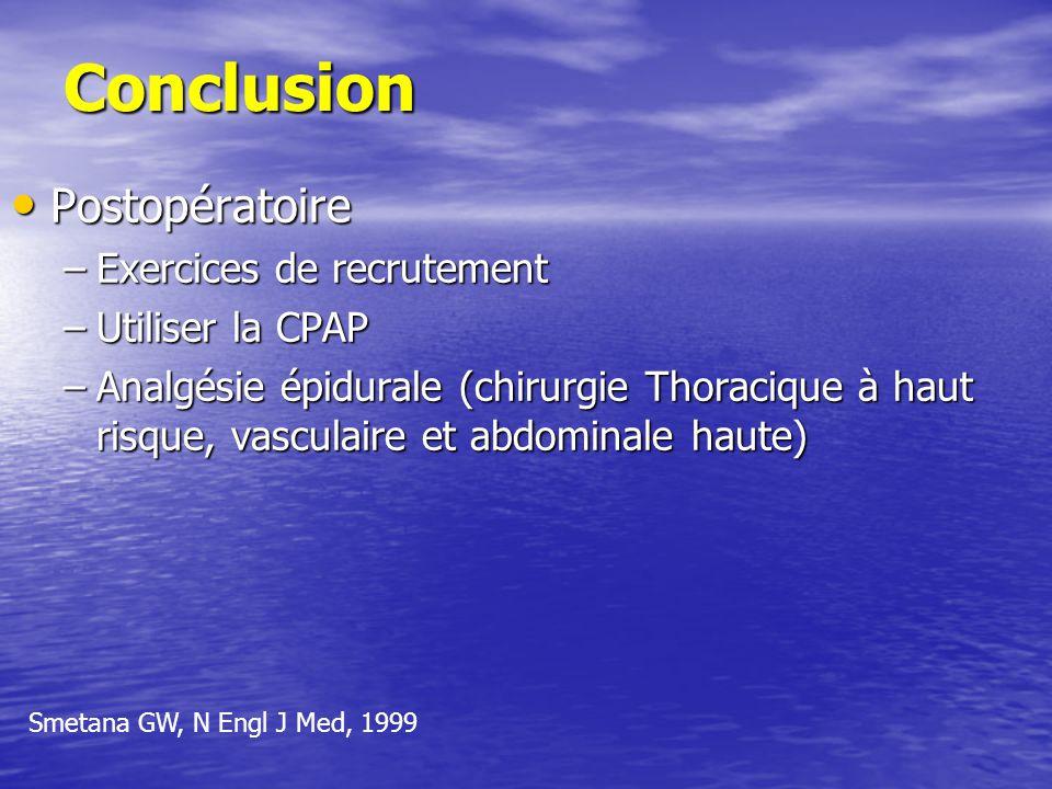Conclusion Postopératoire Exercices de recrutement Utiliser la CPAP