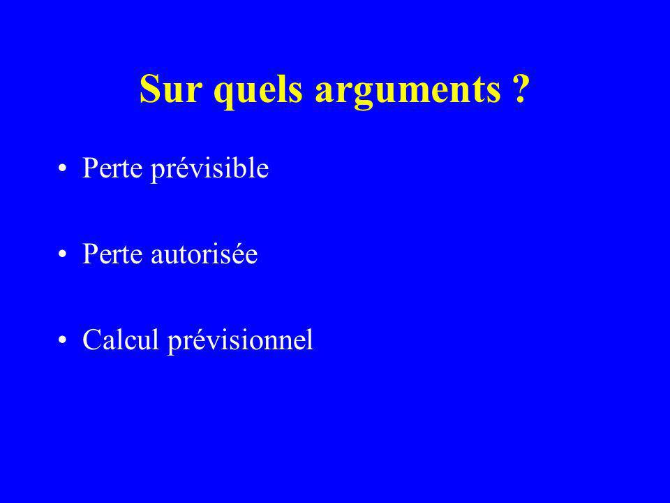 Sur quels arguments Perte prévisible Perte autorisée