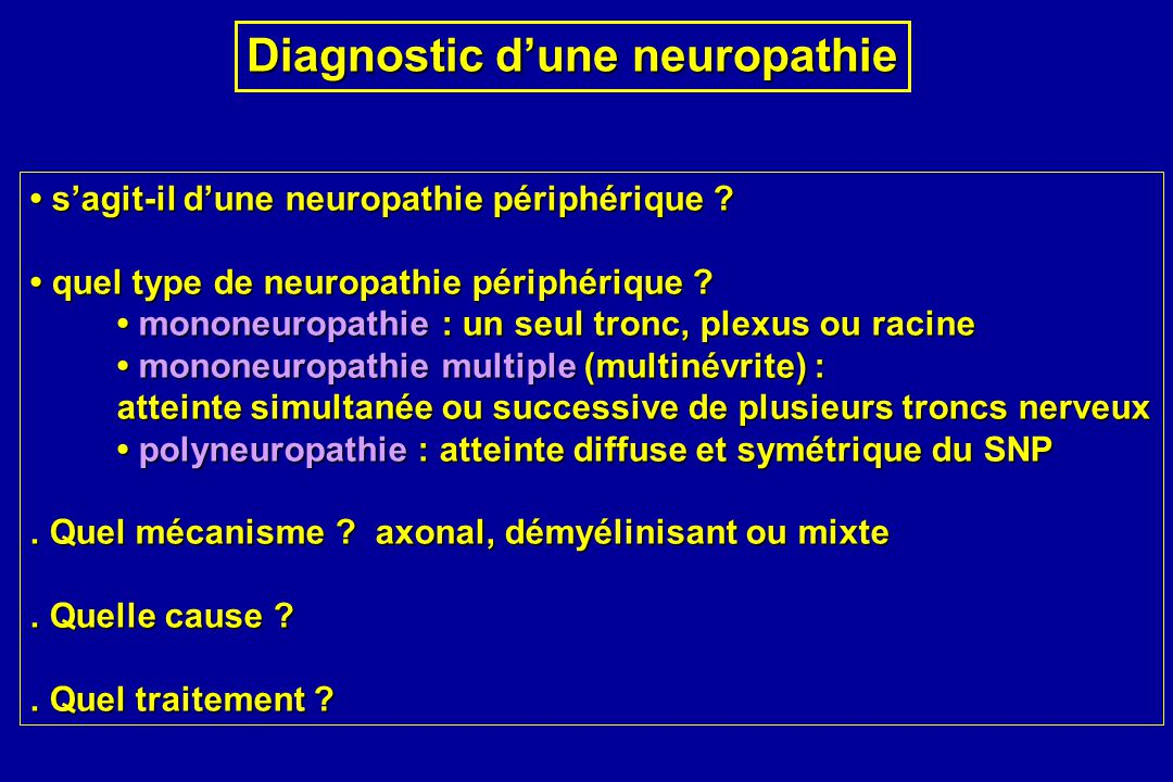 Diagnostic d'une neuropathie