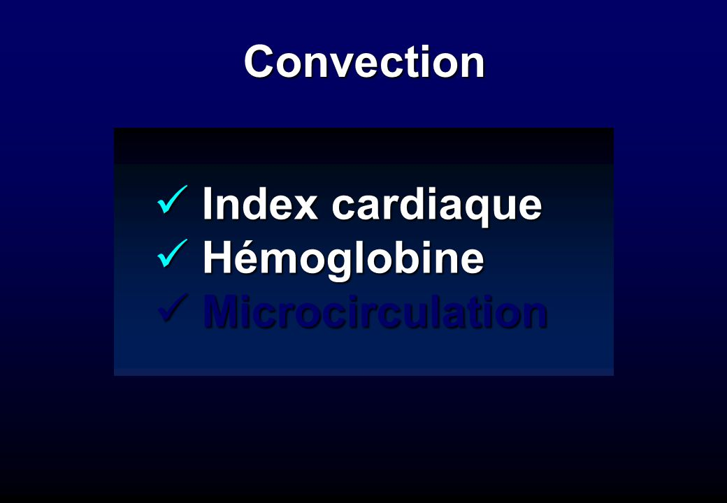 Convection Index cardiaque Hémoglobine Microcirculation