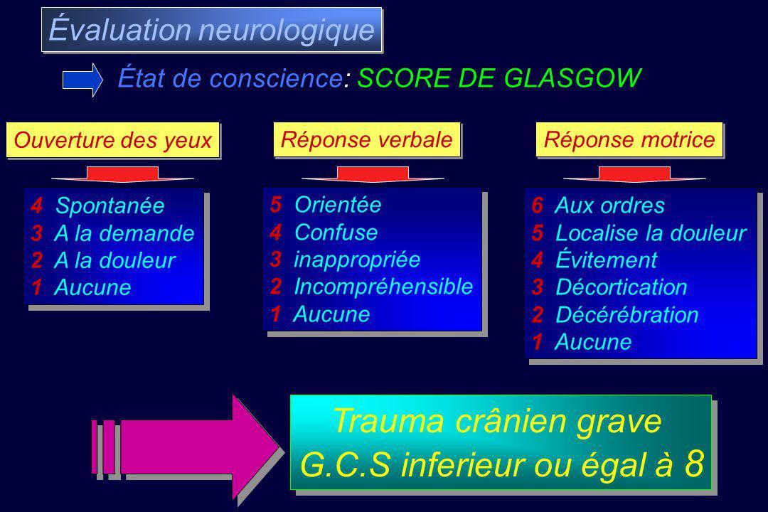 Trauma crânien grave G.C.S inferieur ou égal à 8