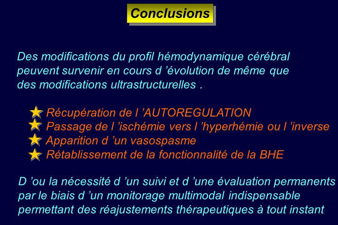 Conclusions Des modifications du profil hémodynamique cérébral