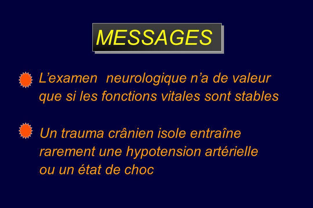 MESSAGES L'examen neurologique n'a de valeur que si les fonctions vitales sont stables.
