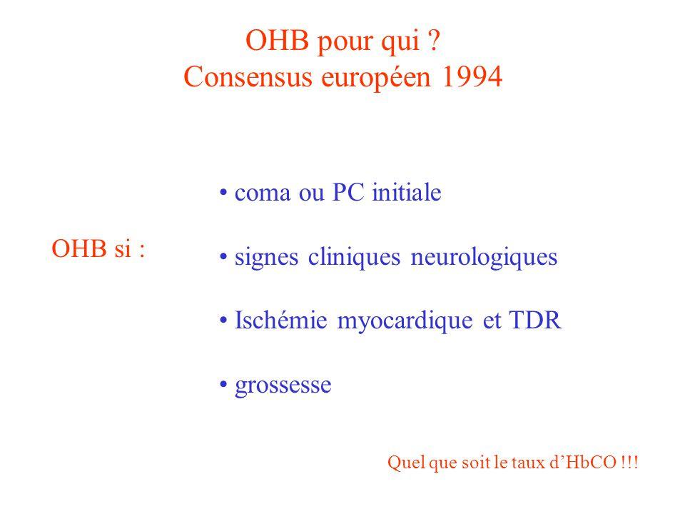 OHB pour qui Consensus européen 1994 coma ou PC initiale