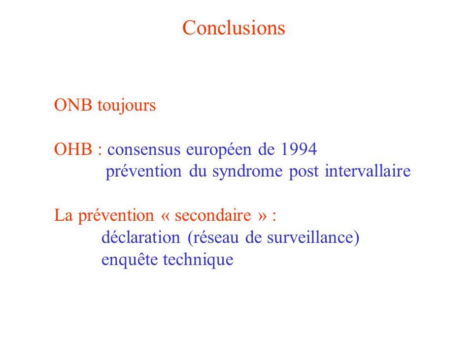 Conclusions ONB toujours OHB : consensus européen de 1994
