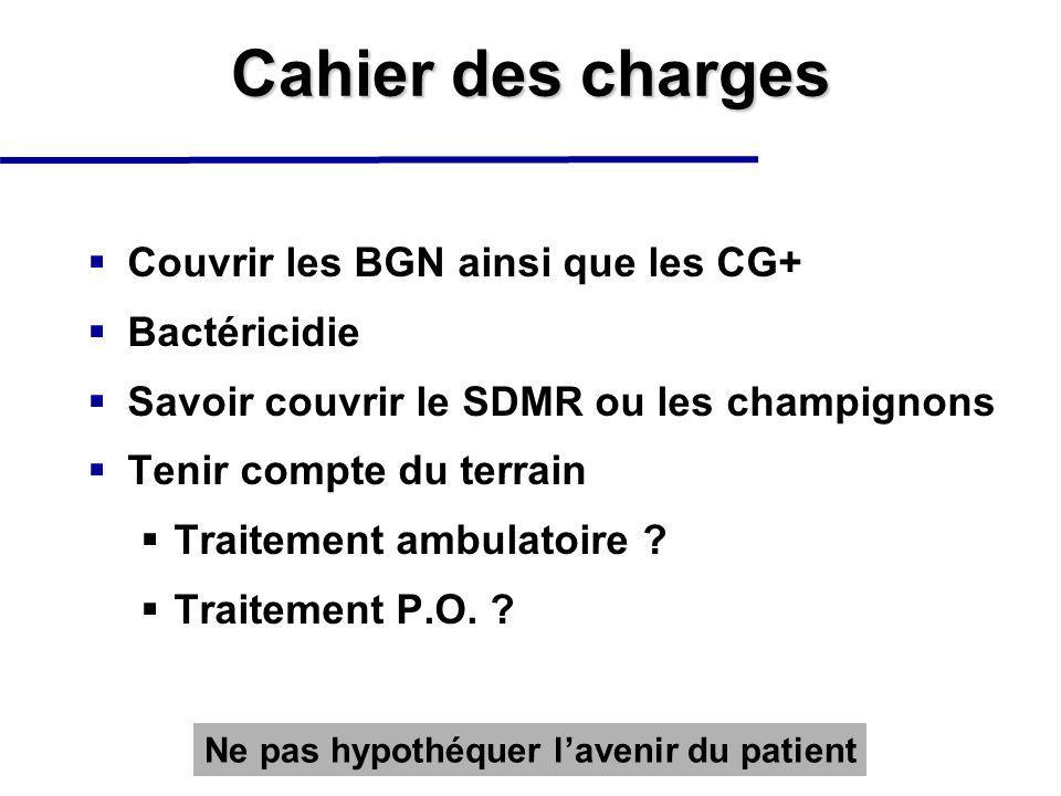 Cahier des charges Couvrir les BGN ainsi que les CG+ Bactéricidie