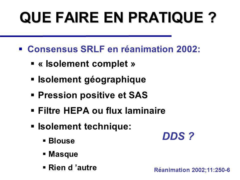QUE FAIRE EN PRATIQUE DDS Consensus SRLF en réanimation 2002: