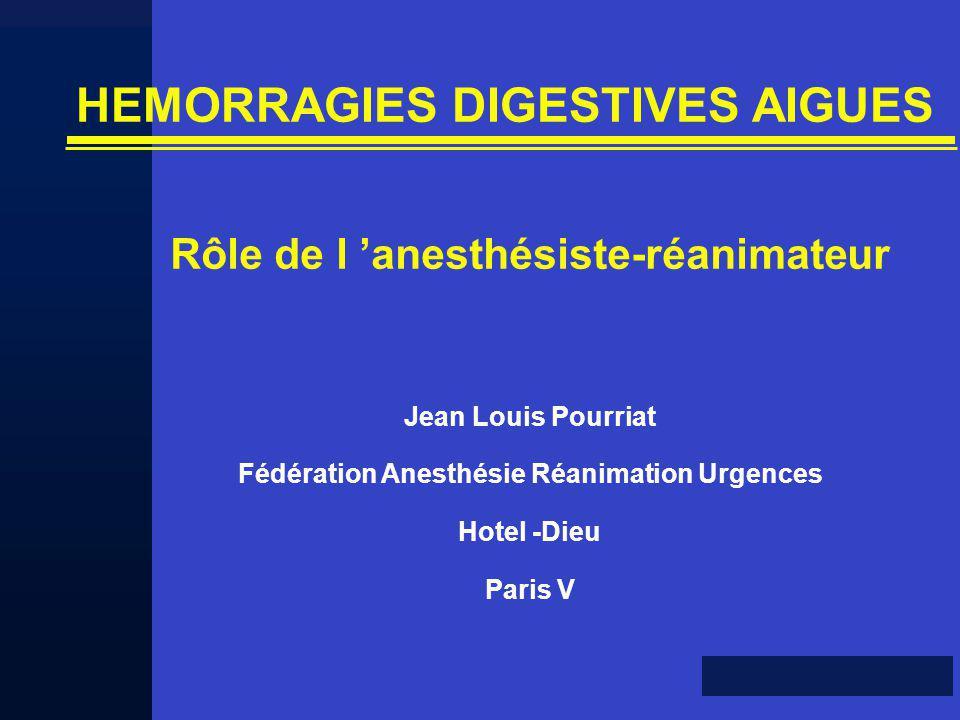 HEMORRAGIES DIGESTIVES AIGUES Rôle de l 'anesthésiste-réanimateur