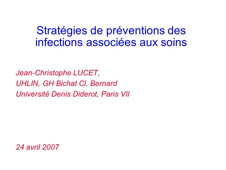 Stratégies de préventions des infections associées aux soins