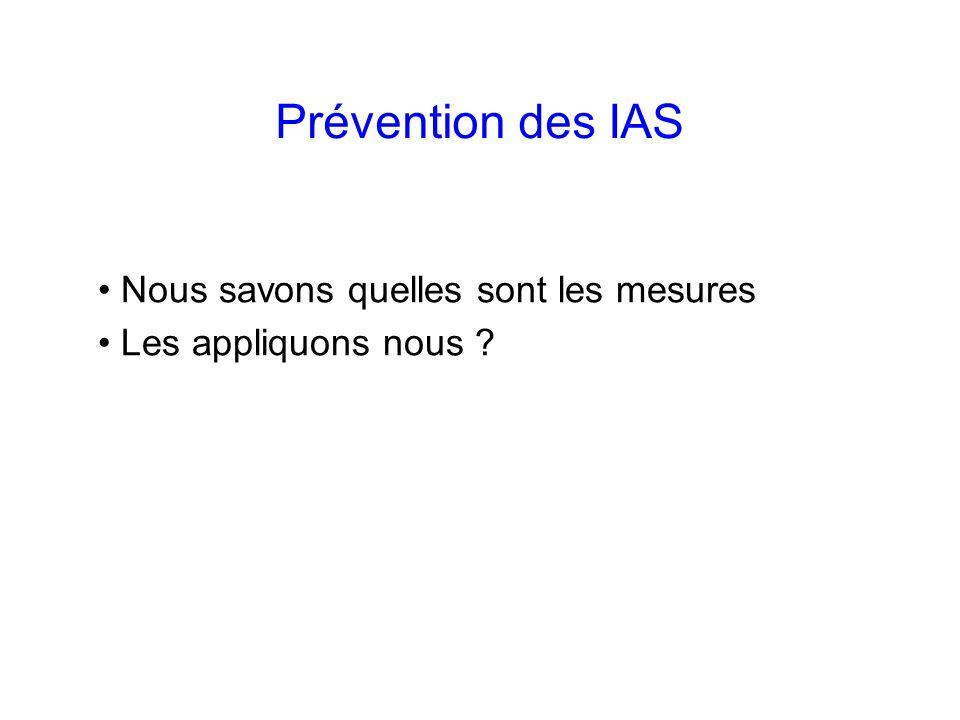 Prévention des IAS Nous savons quelles sont les mesures
