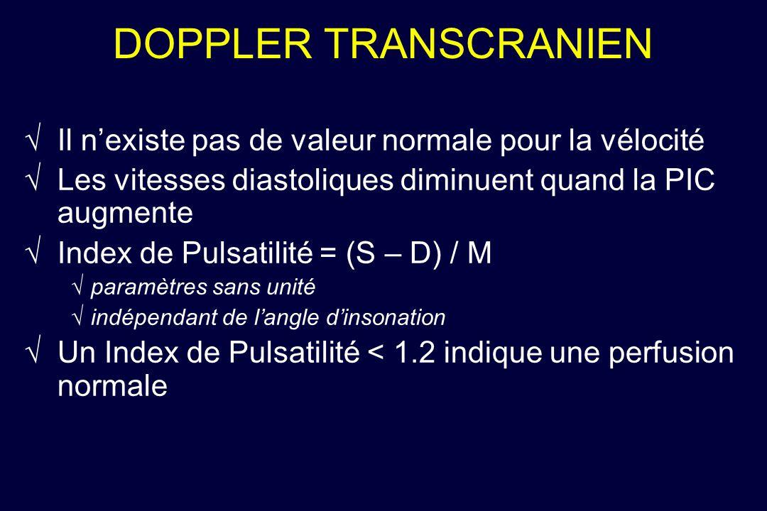 DOPPLER TRANSCRANIEN Il n'existe pas de valeur normale pour la vélocité. Les vitesses diastoliques diminuent quand la PIC augmente.
