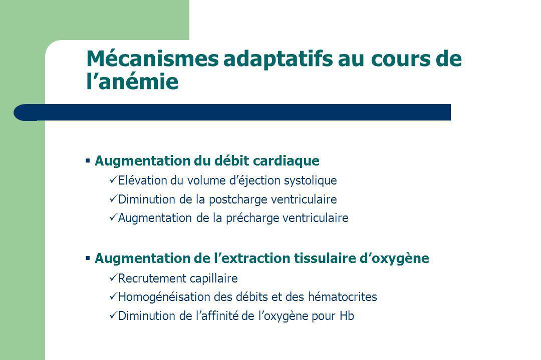Mécanismes adaptatifs au cours de l'anémie