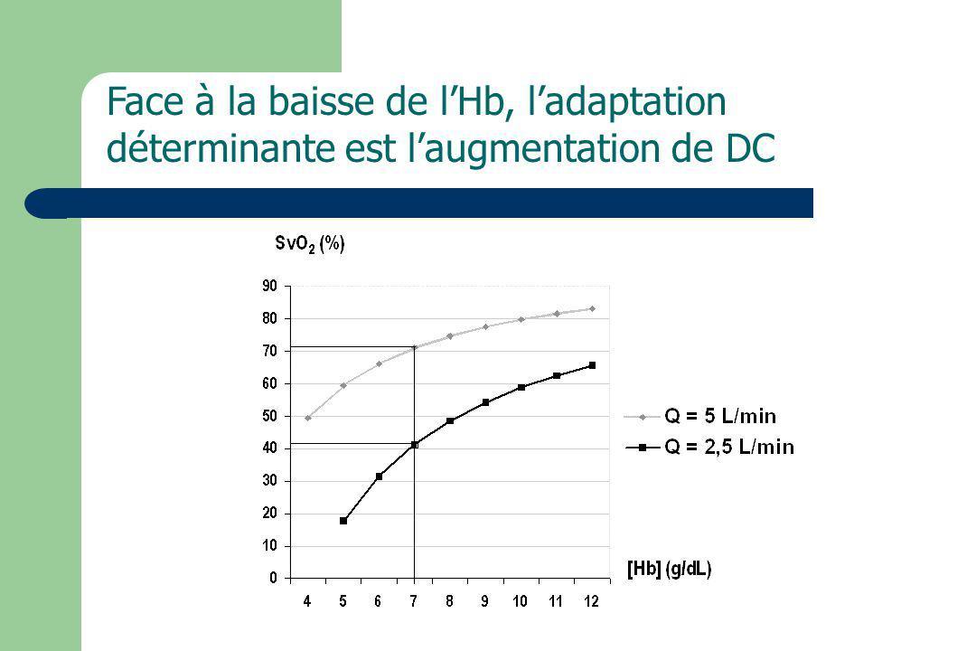 Face à la baisse de l'Hb, l'adaptation déterminante est l'augmentation de DC