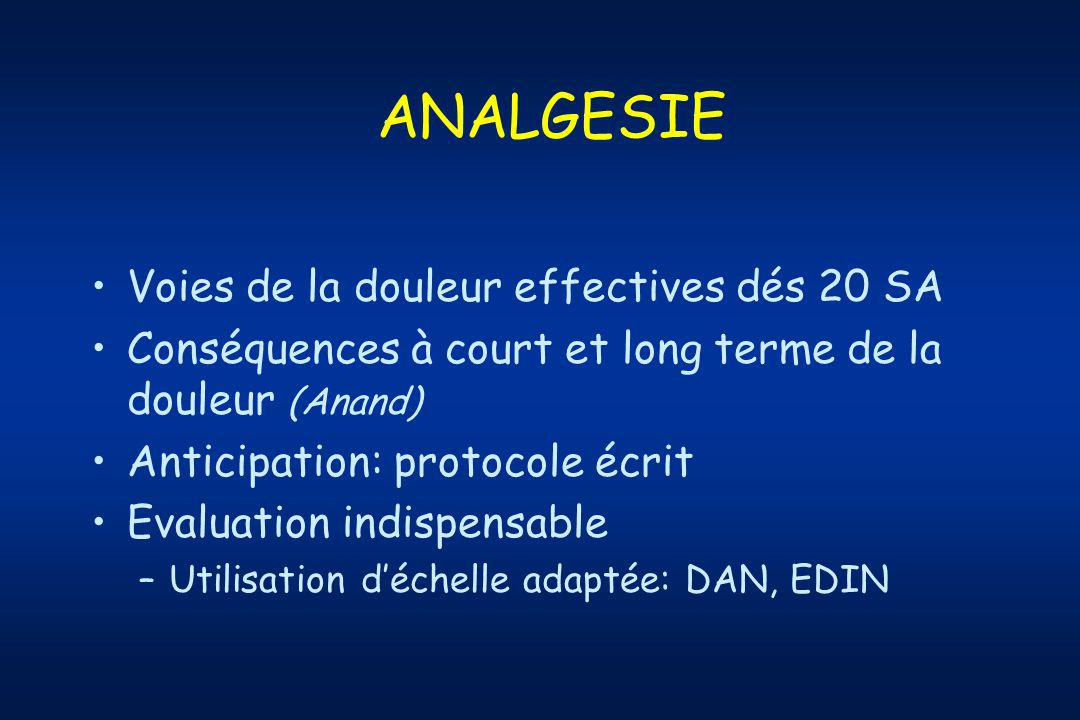 ANALGESIE Voies de la douleur effectives dés 20 SA