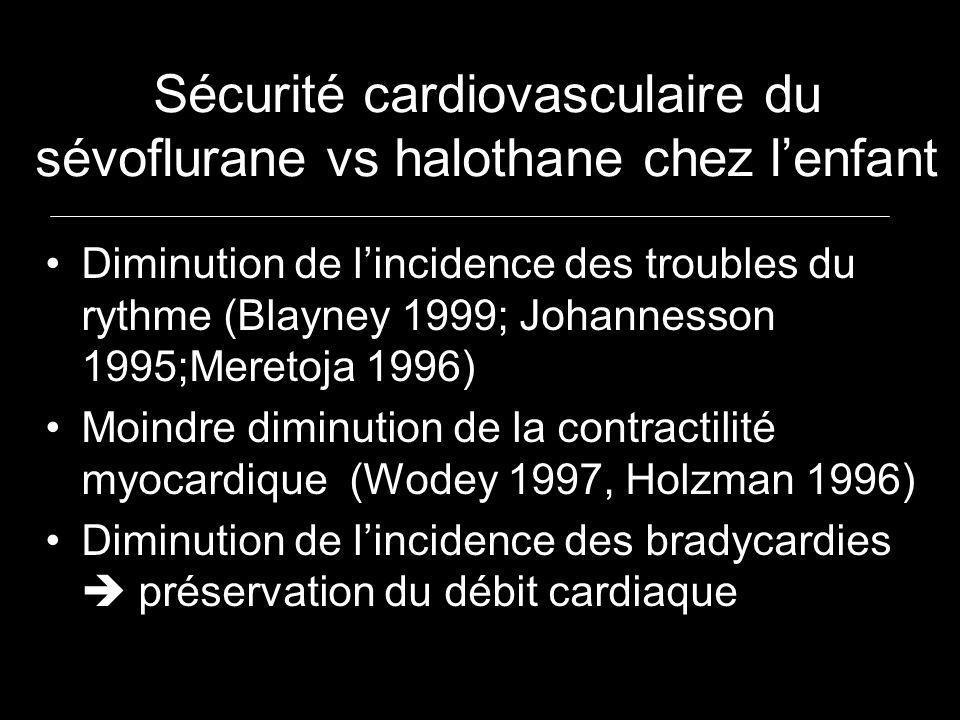 Sécurité cardiovasculaire du sévoflurane vs halothane chez l'enfant