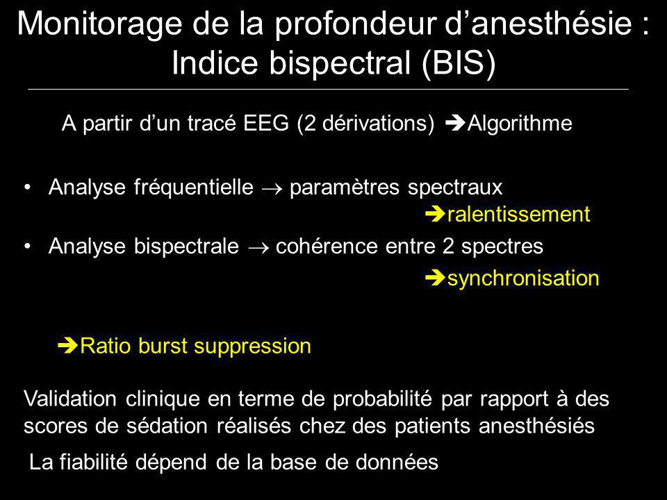 Monitorage de la profondeur d'anesthésie : Indice bispectral (BIS)