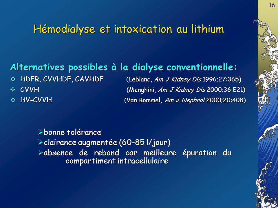 Hémodialyse et intoxication au lithium