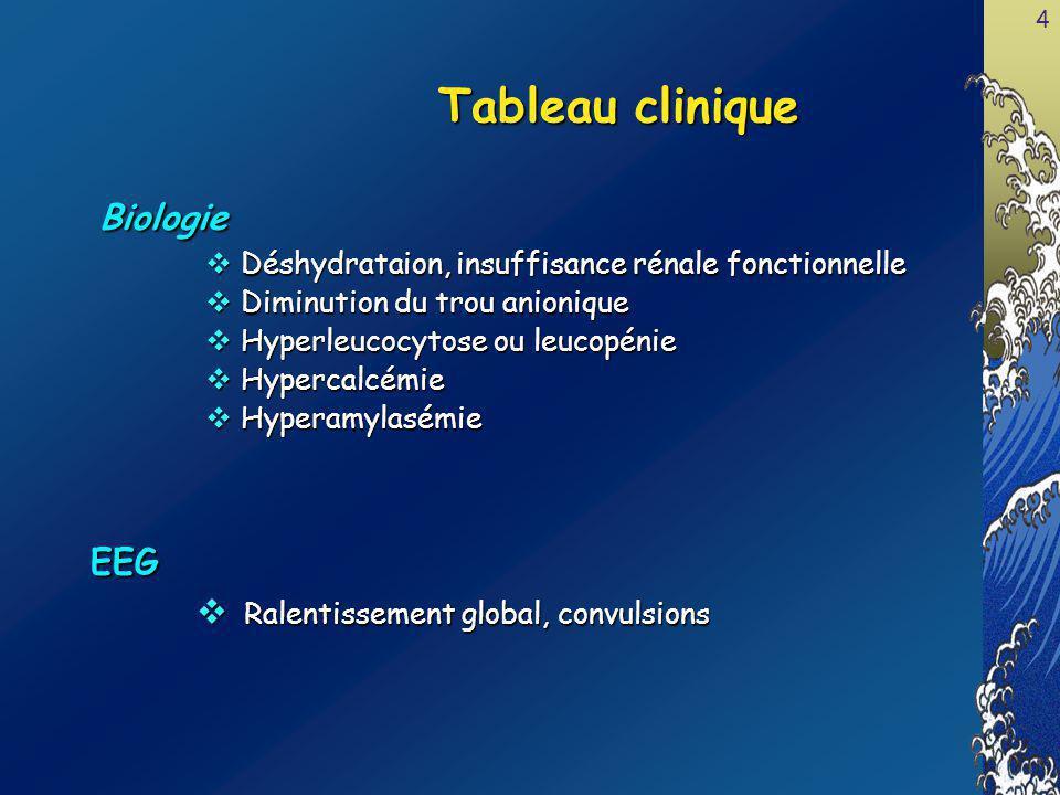 Tableau clinique Biologie EEG Ralentissement global, convulsions